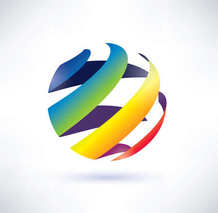 abstract rainbow globe icon Stock Vector - 22348526