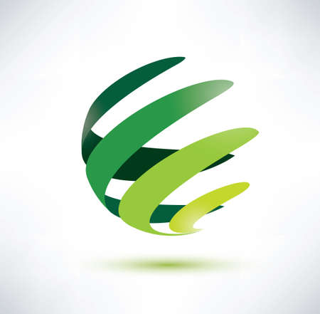 abctract green globe icon, ecology and nature concept