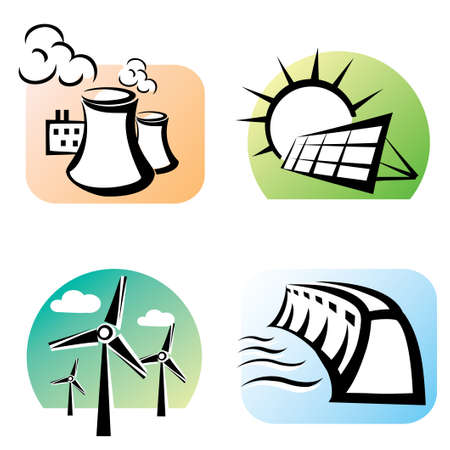 hydro electric: power plants set, icons