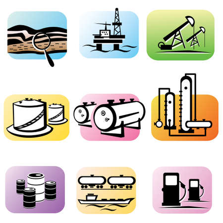 extraction: oil extraction and processing, set of  icons Illustration