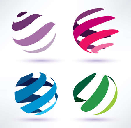 set of 3d  abstract globe icons Illustration