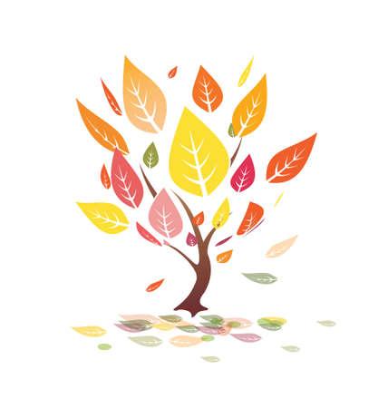 autumn leaves, yellow tree  illustration