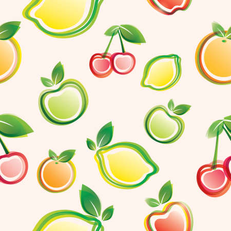 fruits seamless pattern, on the pink background Vector