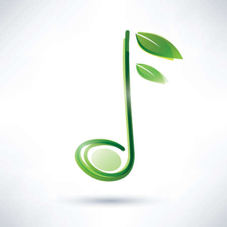 green musical note, abstract background Stock Vector - 22348555