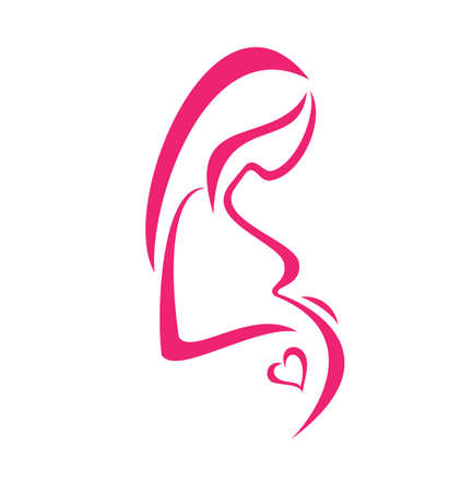 Schwangere Frau, isoliert Symbol Standard-Bild - 22348557
