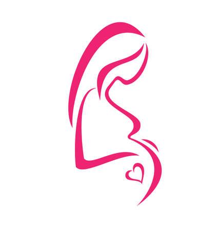 zwangere vrouw, geïsoleerde symbool Vector Illustratie