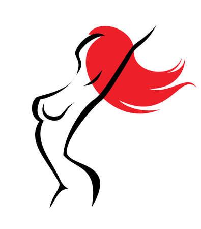 naked female body: sexual woman, isolated symbol Illustration