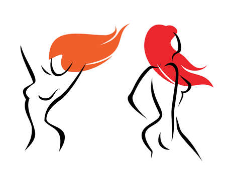 naked girl: sexual woman, isolated symbol Illustration