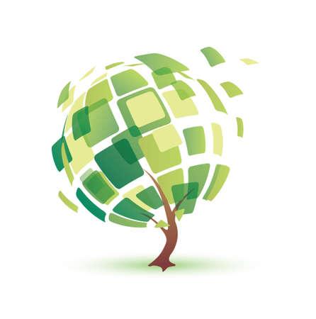 arbol raices: Árbol del verano, abstarct icono