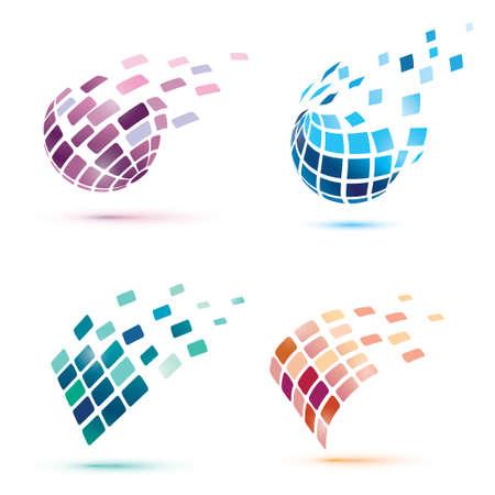Estratto icone del globo, concetto di business e comunicazione