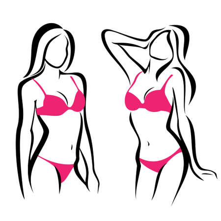 sexy woman silhouettes, underwear fashion set Vector