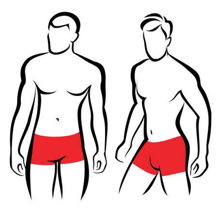 hommes athlétiques silhouettes, la collecte des symboles de vecteur