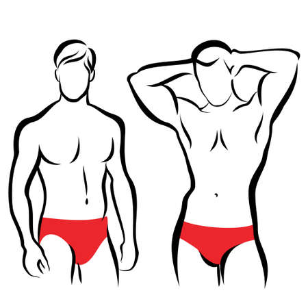 athletic men silhouettes, vector symbols collection Vector