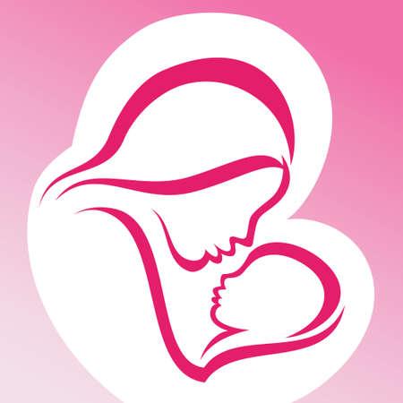 moeder met baby: moeder en baby vectorsymbool
