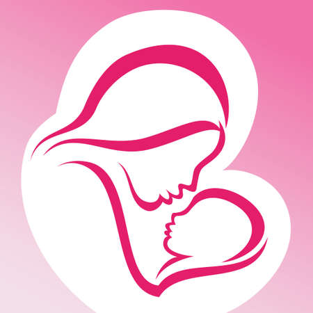 mother with baby: mother and baby vector symbol