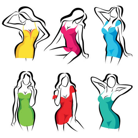 beautiful women set of vector symbols in dress Vector