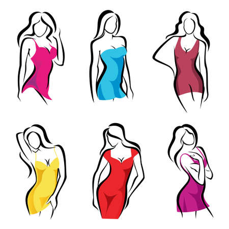 beautiful women set of vector symbols in dress Stock Vector - 22801704