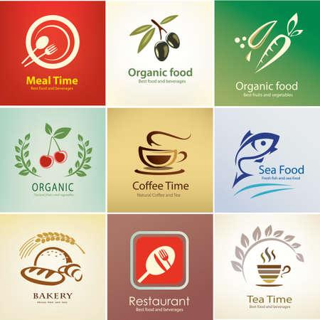 negocios comida: diferentes iconos de alimentos y bebidas establecer, plantillas de fondo Vectores