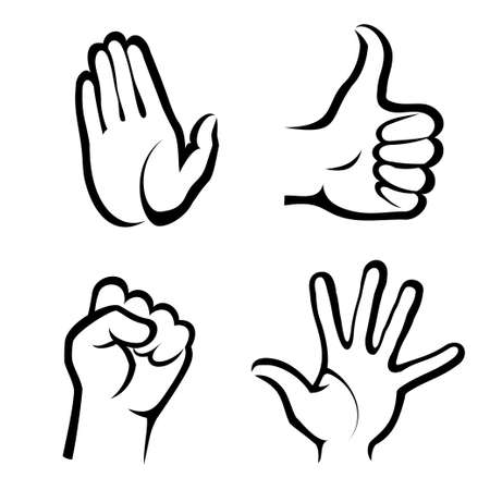 stop gesture: hands symbols collection Illustration