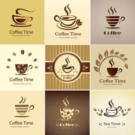 カフェ エンブレム コレクションには、コーヒー カップ アイコンの設定
