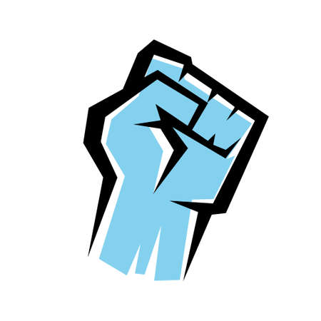 socialism: fist stylized vector icon, revolution concept