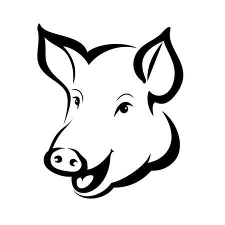 행복한 돼지 머리 초상화, 격리 된 벡터 기호 일러스트