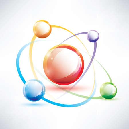 atoom structuur, abstracte glossy icon, wetenschap en energie concept