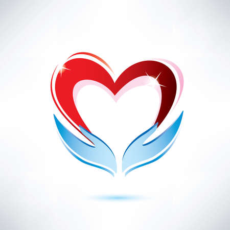 hands holding a heart, vector icon, love sharing concept Vector
