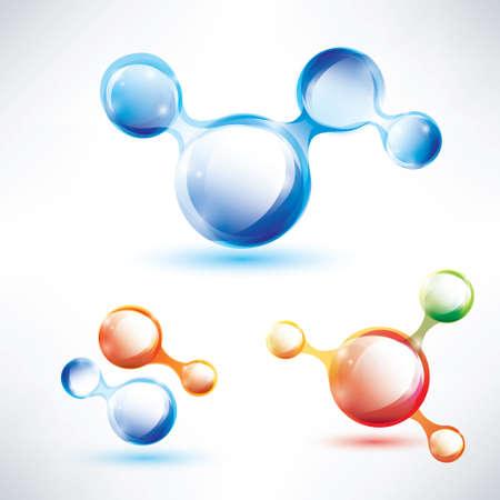 抽象的な分子の形、光沢のあるアイコンを設定  イラスト・ベクター素材