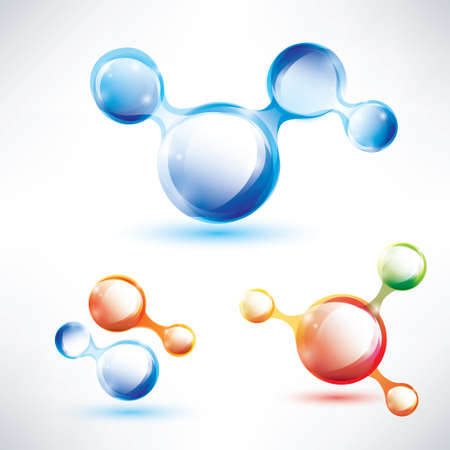 chemical material: abstract molecule shape, glossy icons set Illustration