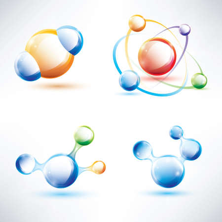 biochemistry: molecule structure, abstract glossy icons set, science and energy concept