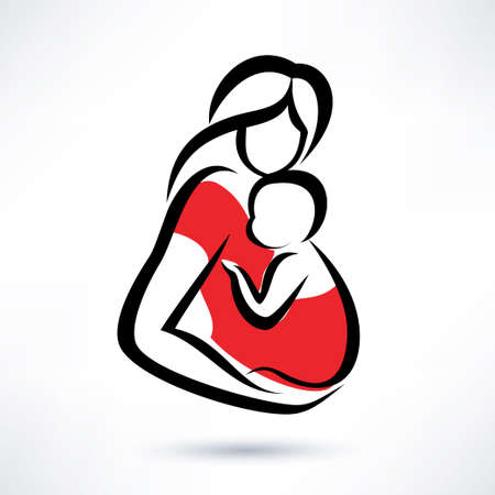 mother holding baby in the sling, vector symbol Vector