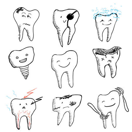 hadron: hand drawn funny teeth, vector icons collection Illustration