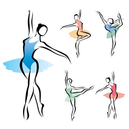 ballet: ballet dancer silhouette, set of vectors ymbols