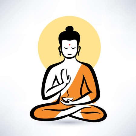 Boeddha vectorsymbool Stock Illustratie