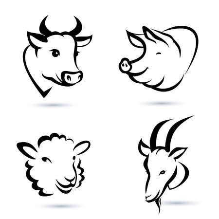 Nutztiere Symbole gesetzt Standard-Bild - 23867283