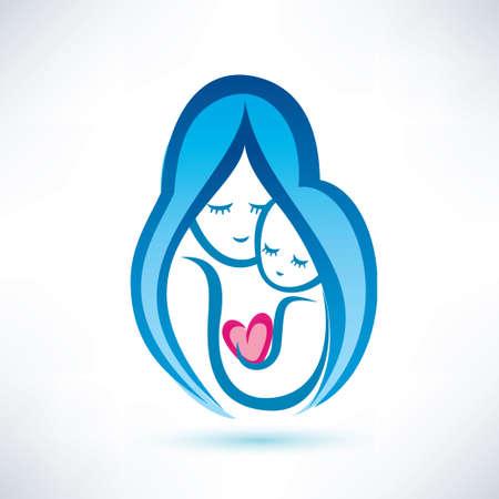 moeder en kind, vector, symbool, liefde concept Stock Illustratie