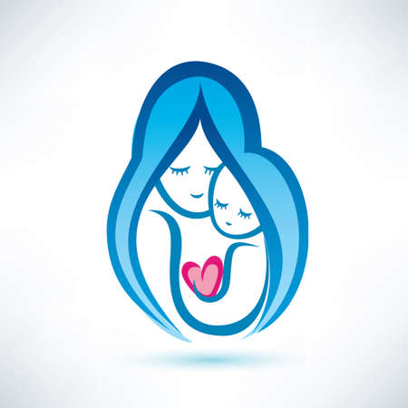 holds: mother and child vector symbol, love concept