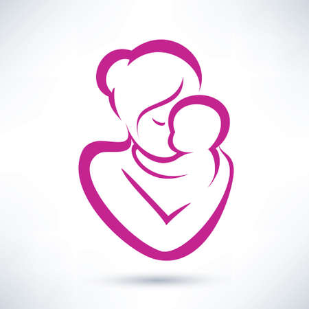 mother's: mom and baby vector icon