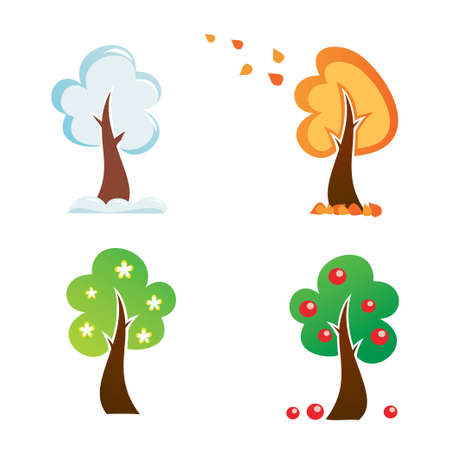 all season tree, vector icons set Vector