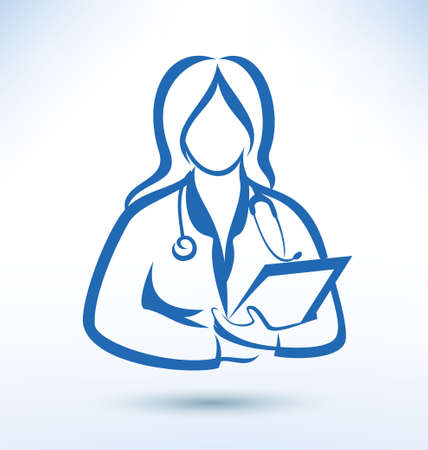nurse, medical worker, outlined vector silhouette Vector