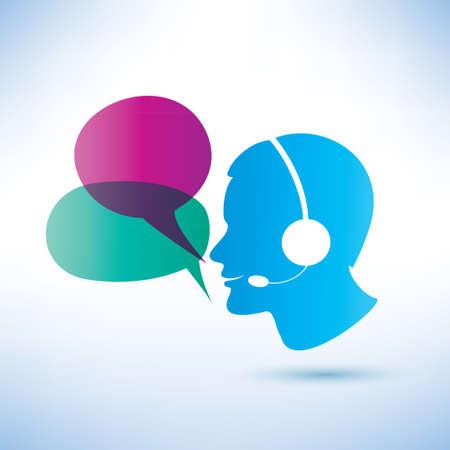 lächelnden Mann mit Kopfhörern und Sprechblasen, Call-Center-Konzept
