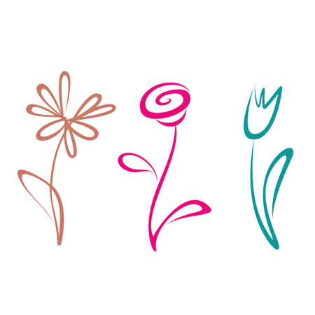 geschetste hand getekende bloem collectie