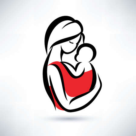 mum and daughter: mamma e bambino vettore simbolo Vettoriali