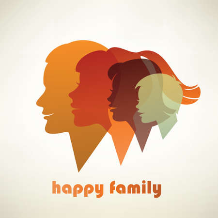 happy family profile silhouettes