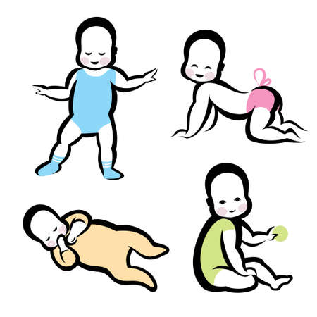 cheerful active baby vector symbols collection Vector