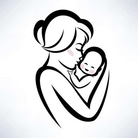 moeder en baby vector icon