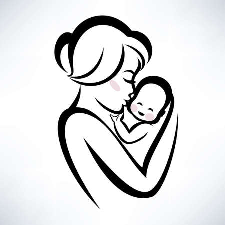 childbirth: mom and baby vector icon