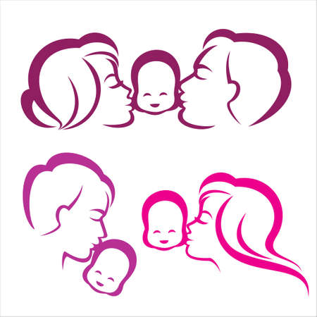 mum and daughter: happy family silhouette, vector symbols collection