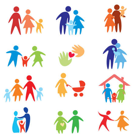 gelukkige familie iconen, vector symbolen collectie Stock Illustratie